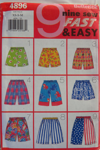 Butterick 4896 Unisex Shorts - XS-S-M - Smiths Depot Sewing Pattern Superstore