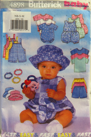 Butterick 4898 Infant's Romper, Overalls, T-Shirt, Shorts, Hat and Headband - NB-S-M - Smiths Depot Sewing Pattern Superstore