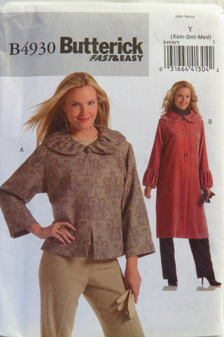 Butterick 4930 Misses'/Misses' Petite Jacket and Coat - XS-S-M - Smiths Depot Sewing Pattern Superstore