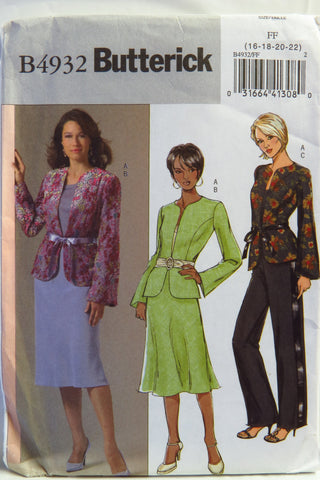Butterick 4932 Misses'/Misses' Petite Jacket, Skirt and Pants - 16-18-20-22 - Smiths Depot Sewing Pattern Superstore