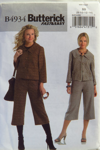 Butterick 4934 Misses'/Misses' Petite Jacket and Pants - 8-10-12-14 - Smiths Depot Sewing Pattern Superstore