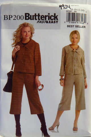 Butterick 0200 Misses'/Misses' Petite Jacket and Pants - 8-10-12-14 - Smiths Depot Sewing Pattern Superstore