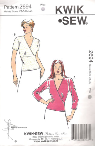 Kwik-Sew 2694 Misses' Tops - (XS-S-M-L-XL) - Smiths Depot Sewing Pattern Superstore