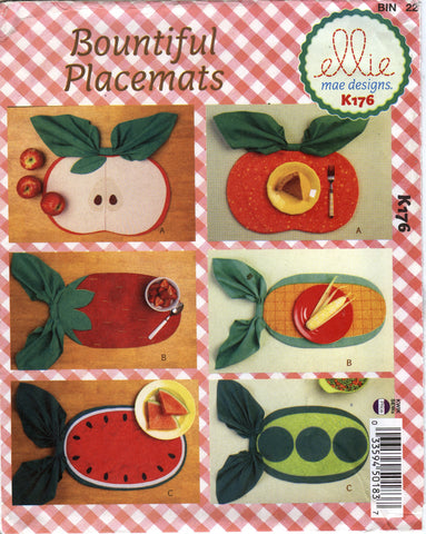 Kwik-Sew 0176 Reversible Placemats -  - Smiths Depot Sewing Pattern Superstore