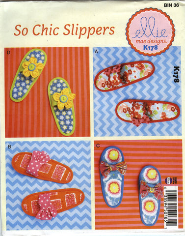 Kwik-Sew 0178 Misses' Slippers -  - Smiths Depot Sewing Pattern Superstore
