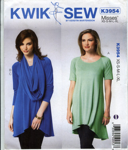 Kwik-Sew 3954 Misses' Knit Tunic and Scarf - A (XS-S-M-L-XL) - Smiths Depot Sewing Pattern Superstore