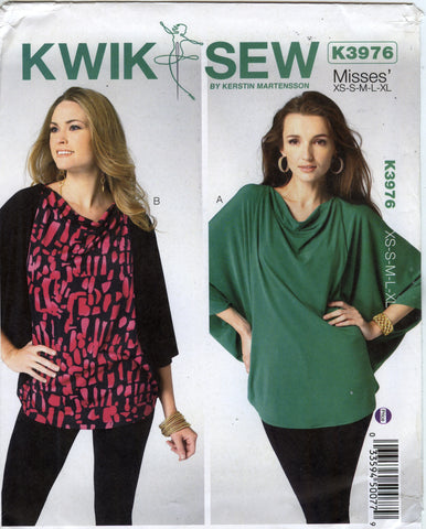 Kwik-Sew 3976 Misses' Top - A (XS-S-M-L-XL) - Smiths Depot Sewing Pattern Superstore