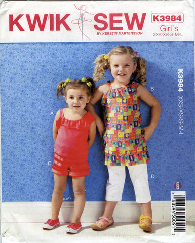Kwik-Sew 3984 Toddlers'/Girl's Tops, Shorts and Pants - A (3-4-5-6-7-8-9-10) - Smiths Depot Sewing Pattern Superstore