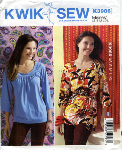 Kwik-Sew 3986 Misses' Top and Belt - A (XS-S-M-L-XL) - Smiths Depot Sewing Pattern Superstore