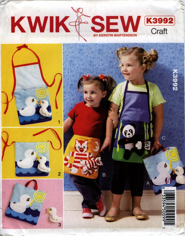 Kwik-Sew 3992 Children's Apron/Tote and Toy -  - Smiths Depot Sewing Pattern Superstore