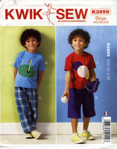 Kwik-Sew 3999 Boys' Top, Shorts and Pants - (3-4-5-6-7-8) - Smiths Depot Sewing Pattern Superstore
