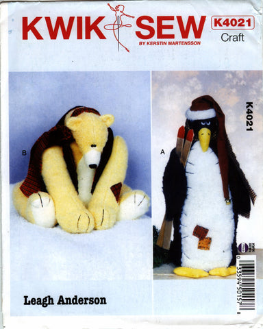 Kwik-Sew 4021 Penguin and Bear -  - Smiths Depot Sewing Pattern Superstore