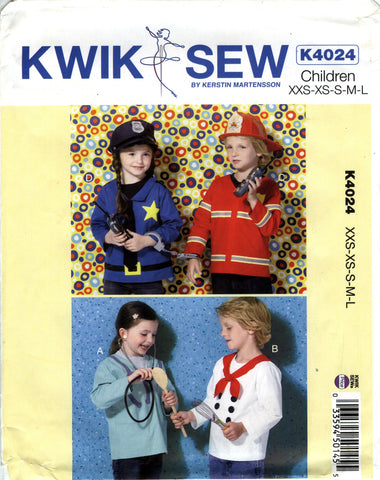 Kwik-Sew 4024 Boys'/Girls' Pretend Play Tops -  - Smiths Depot Sewing Pattern Superstore