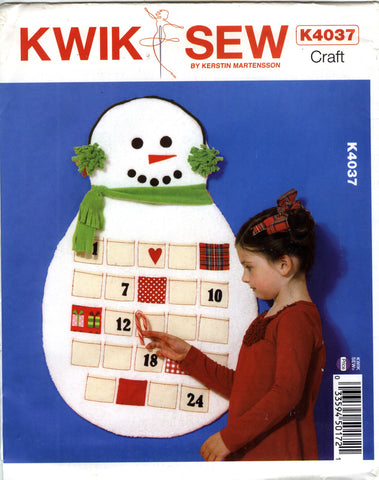 Kwik-Sew 4037 Countdown to Christmas Snowman Wall Hanging -  - Smiths Depot Sewing Pattern Superstore