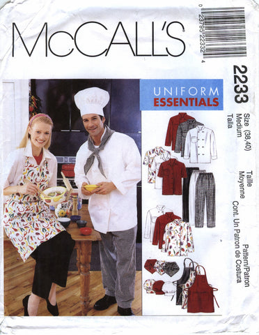 McCall's 2233 Chef Misses'/Men's Jacket, Shirt, Apron, Pull-On Pants, Neckerchief and Hat - (38-40) - Smiths Depot Sewing Pattern Superstore