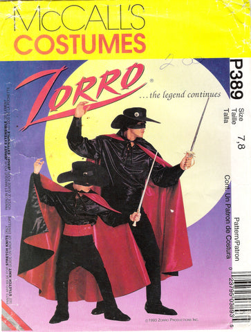 McCall's 0389 Children's/Men's Zorro Costume - (7-8) - Smiths Depot Sewing Pattern Superstore
