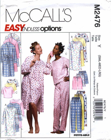 McCall's 2476 Misses' Robe, Nightgown, Top, Pants and Shorts Sleepwear - Y (8-10-12-14-16) - Smiths Depot Sewing Pattern Superstore  - 1