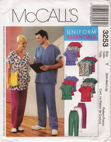 McCall's 3253 Unisex Scrub Tops, Cardigan and Pants