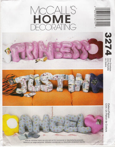 McCall's 3274 Novelty Alphabet Letter Pillows