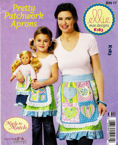 Kwik-Sew 0183 Child's/Misses'/Doll Pretty Patchwork Aprons -  - Smiths Depot Sewing Pattern Superstore