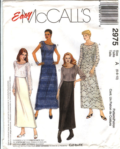 McCall's 2975 Misses'/Miss Petite Dress, Overdress and Top - A (6-8-10) - Smiths Depot Sewing Pattern Superstore