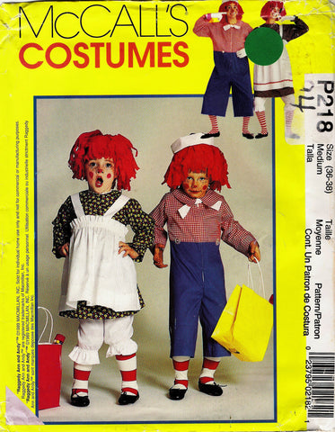 McCall's 0218 Misses'/Men's/Boys'/Girls' Raggedy Ann and Andy™ Costumes - Adult (36-38) - Smiths Depot Sewing Pattern Superstore