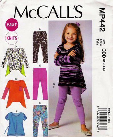 McCall's 0442 Children's/Girls' Tops and Leggings - CDD (2-3-4-5) - Smiths Depot Sewing Pattern Superstore  - 1
