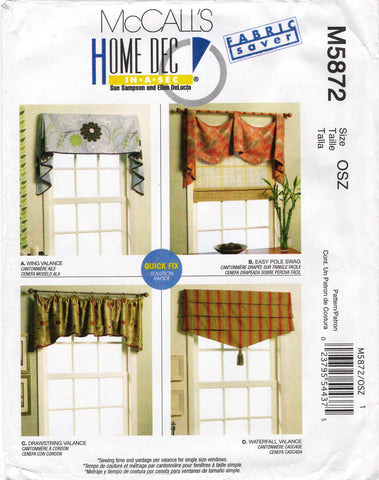 McCall's 5872 Window Valance, Swag Treatments