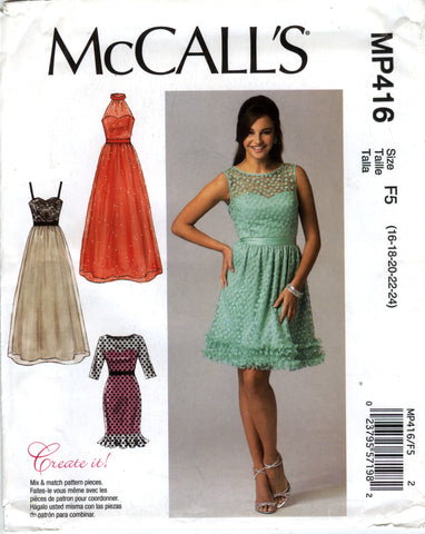 McCall's 0416 Misses' Dresses - F5 (16-18-20-22-24) - Smiths Depot Sewing Pattern Superstore