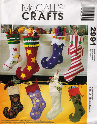 McCall\'s 2991 Christmas Stockings – Smiths Depot Sewing Pattern ...