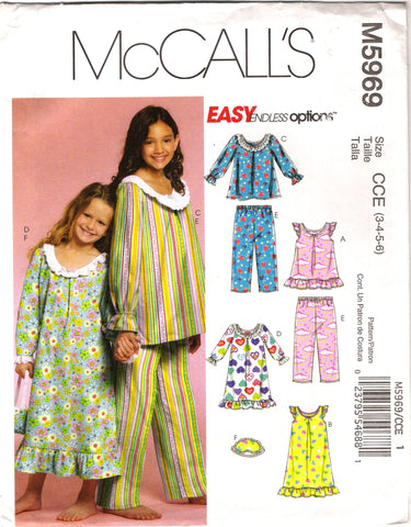 McCall's 5969 Children's/Girls' Pajamas Sleepwear