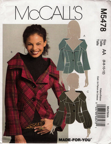 McCall's 5478 Misses'/Miss Petite Lined Jackets - AA (6-8-10-12) - Smiths Depot Sewing Pattern Superstore