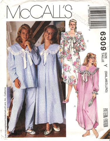 McCall's 6309 Misses' Nightgown Pajamas Sleepwear