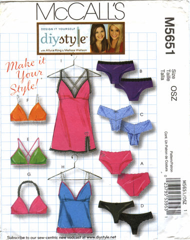 McCall's 5651 Misses' Panties, Bras, Camisole and Slip -  - Smiths Depot Sewing Pattern Superstore