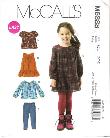McCall's 6388 Children's/Girls' Tops, Dresses and Leggings