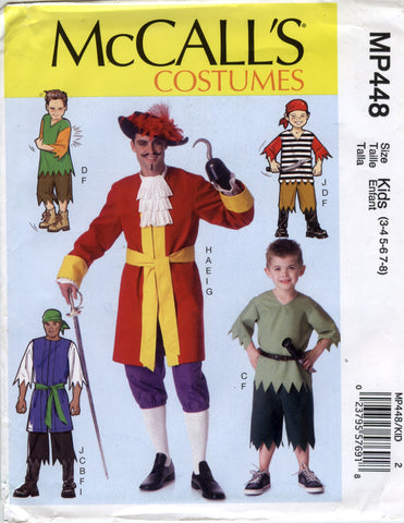 McCall's 0448 Men's/Children's/Boys' Costumes - Kids (3-4-5-6-7-8) - Smiths Depot Sewing Pattern Superstore  - 1