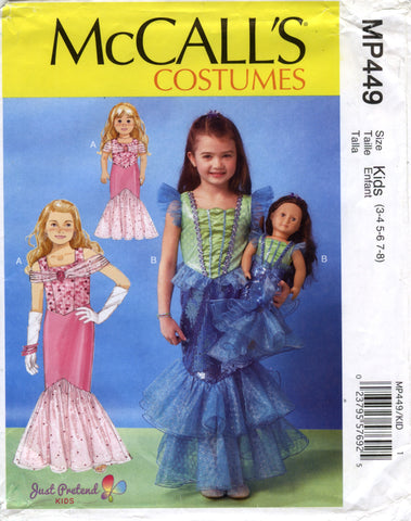 "McCall's 0449 Children's/Girls'/18"" Dolls' Costumes - Kids (3-4-5-6-7-8) - Smiths Depot Sewing Pattern Superstore"