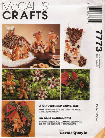 McCall's 7773 Gingerbread Christmas Traditions Decorations -  - Smiths Depot Sewing Pattern Superstore