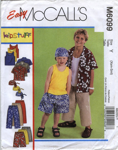 McCall's 6099 Children's/Boys' Shirt, Tank Top, Pull-On Cropped Pants, Shorts and Headwrap - Y (3-4-5-6) - Smiths Depot Sewing Pattern Superstore  - 1