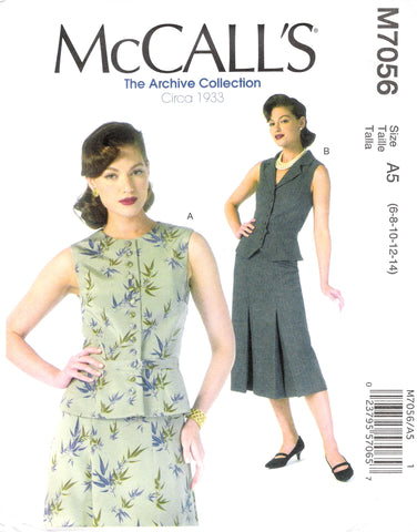 McCall's 7056 Misses' Vest - A5 (6-8-10-12-14) - Smiths Depot Sewing Pattern Superstore