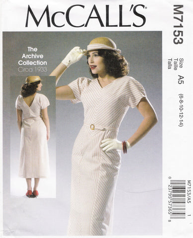 McCall's 7153 Misses' Dress and Belt - A5 (6-8-10-12-14) - Smiths Depot Sewing Pattern Superstore