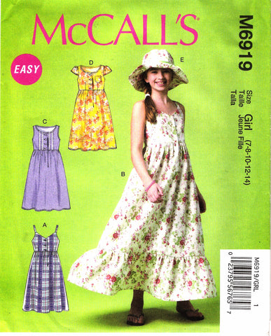 McCall's 6919 Girls'/Girls' Plus Dresses and Hat