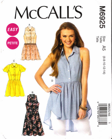 McCall's 6925 Misses' Miss Petite Tops, Tunic and Dress