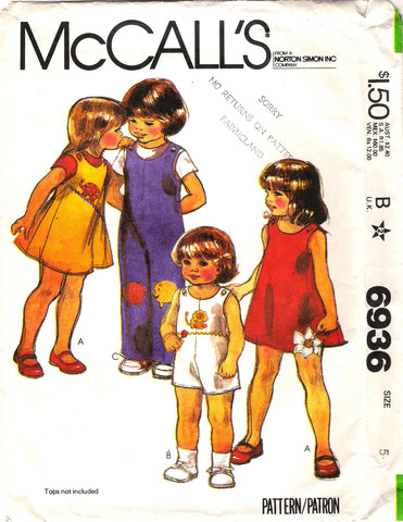 McCall's 6936 Toddlers'/Children's Jumper, Jumpsuit and Transfer Appliques