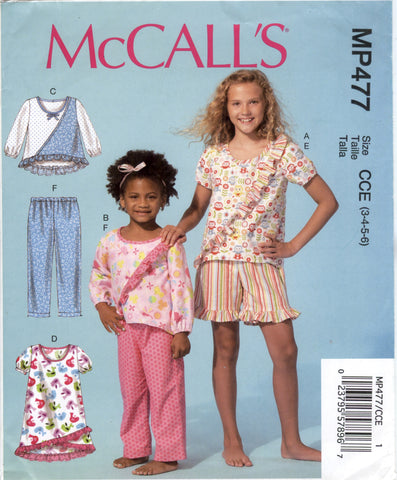 McCall's 0477 Children's/Girls' Tops, Dress, Shorts and Pants - CCE (3-4-5-6) - Smiths Depot Sewing Pattern Superstore  - 1