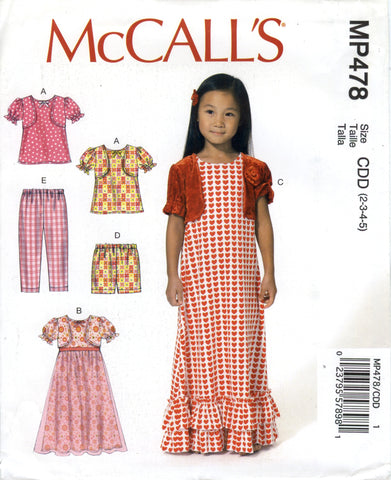 McCall's 0478 Children's/Girls' Top, Gowns, Shorts and Pants - CDD (2-3-4-5) - Smiths Depot Sewing Pattern Superstore  - 1