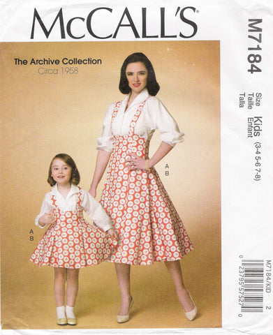 McCall's 7184 Misses'/Children's/Girls' Top and Jumper - Kids (3-4-5-6-7-8) - Smiths Depot Sewing Pattern Superstore