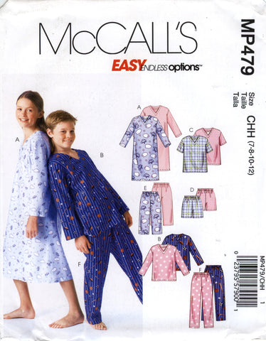 McCall's 0479 Boys'/Girls'/Unisex Nightshirt, Tops, Shorts and Pants - CHH (7-8-10-12) - Smiths Depot Sewing Pattern Superstore  - 1