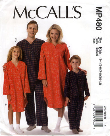 McCall's 0480 Misses'/Men's/Boys'/Girls' Top, Nightshirt and Pants Pajamas - Kids (3-4-5-6-7-8-10-12) - Smiths Depot Sewing Pattern Superstore  - 1