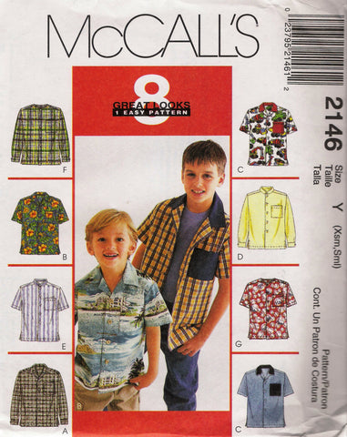McCall's 2146 Children's/Boys' Shirts - Y (3-4-5-6) - Smiths Depot Sewing Pattern Superstore